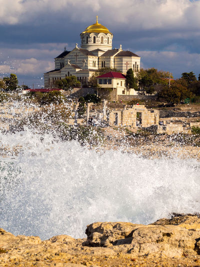 Ancient City Ancient Greek City Archeology Architecture Christian Church Church Crimea,Russia Day Gawlet Historical Motion Museum Reserve Museum Reserve Tauric Chersonese No People Ortodox Church Outdoors Sea Sea Storm Sevastopol' Sky Splashing Tauric Chersonese Temple Temple - Building Water