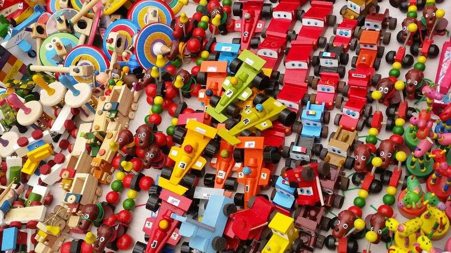 Full frame shot of colorful toys for sale at market