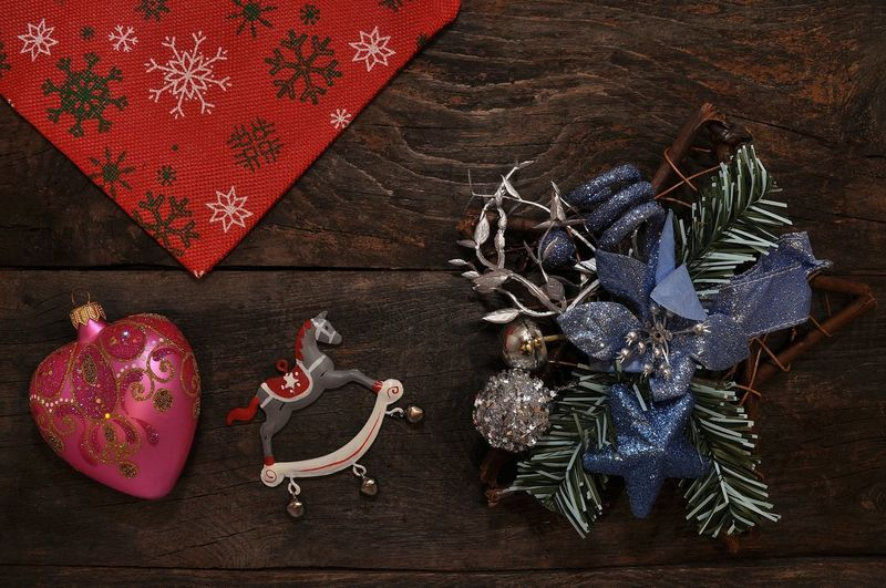 Christmas Christmastime Toys Happiness Family House Holiday Presents B4 Christmas Wooden Texture Light And Shadow Retro Styled Toy Photography Vintage Style Christmas Decoration Christmas Christmas Ornament Celebration christmas tree Table High Angle View Close-up