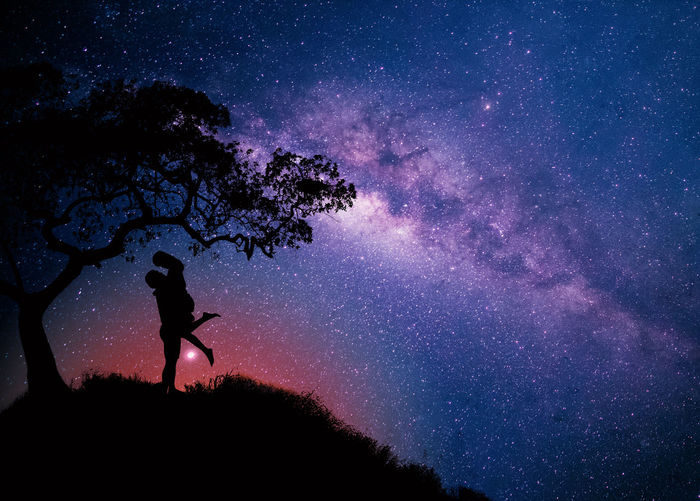 Sky Night Star - Space Silhouette Tree Beauty In Nature Plant Astronomy Space Nature Standing Scenics - Nature Galaxy Real People Star Star Field People Land Lifestyles Outdoors Milky Way Purple Couple Wife Asmosphere