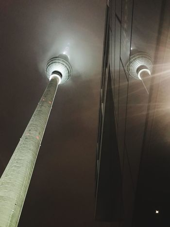 Reflected Foggy Lights Berlin Tower Low Angle View Reflection City Travel Destinations Sky Building Exterior Tourism Travel
