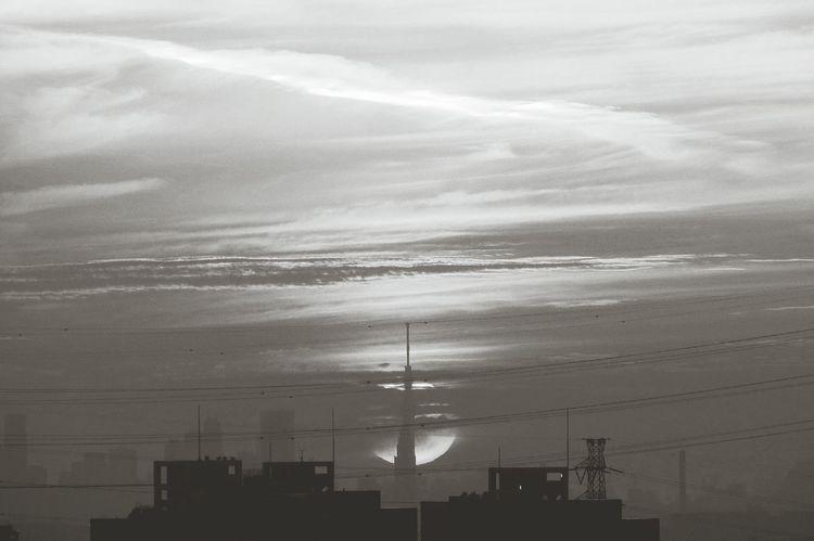 東京スカイツリーと朝日 Rising Sun Tokyoskytree Black And White Monochrome