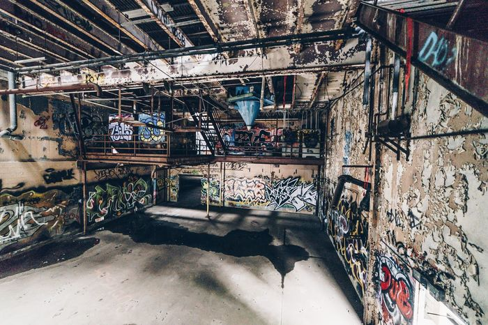 Graffiti Architecture Built Structure Indoors  Day No People