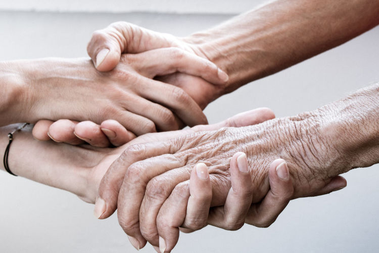 Close-up of people hands