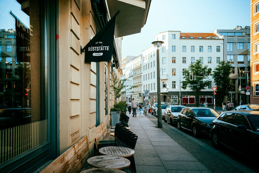 Berlin Mitte City Life City Street Lantern Urban Geometry Architecture Building Building Exterior Built Structure Car City City Life Communication Day Evening Incidental People Nature Outdoors Residential District Sign Sky Street Streetphotography Text Transportation Urban