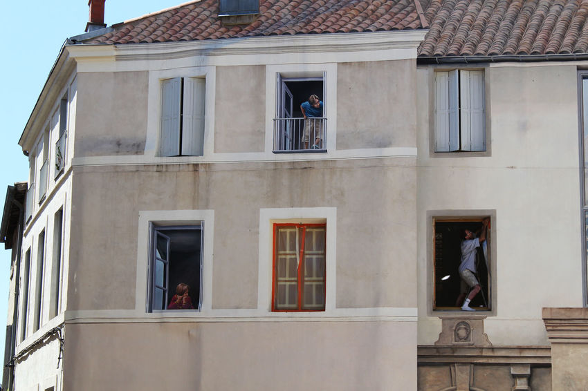 Spot the real person! France Montpellier Trompe-l'œil Architecture Building Exterior Day One Person Painting Windos Window
