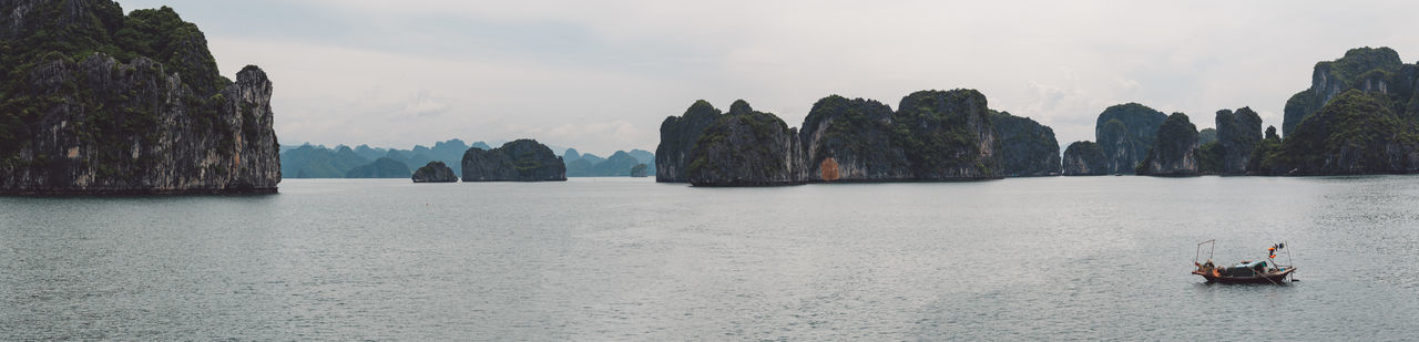 Panoramic View Of Halong Bay And Mountains Against Sky