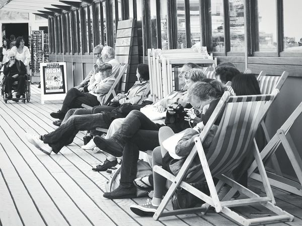 Summer Views Shades Of Grey Seaside Deck Chairs Pier Sunshine Enjoying The Sun England Holiday Poole, Dorset