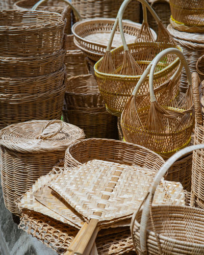 Close-up of wicker basket at market stall