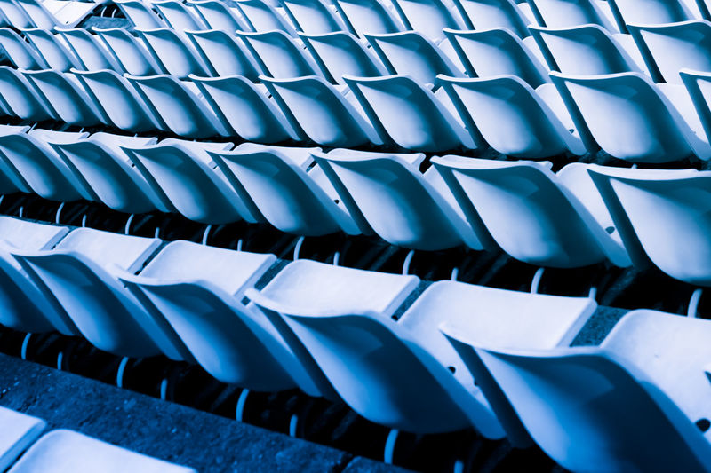 Empty Abstract Background Backgrounds Blue Built Structure Chair Community Design Full Frame Geometry Pattern In A Row Light And Shadow Modern Monochrome No People Order Outdoors Pattern Repetition Shape Side By Side Stadium Street Photography