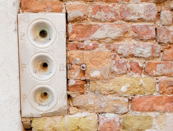 Textures And Surfaces Background ArchiTexture Architectural Detail Brickwall Orange Doorbells Venice, Italy Brick And Mortar Ancient Wall