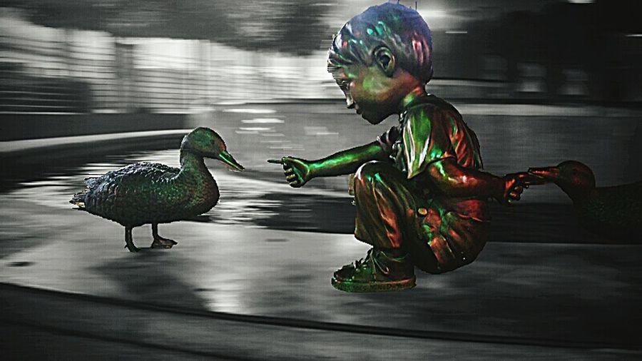 """Quackers"" by Mike Dwyer DOwntownMEsaAZ MesaAZ Bronze Statue Bronze Ducks Littleboy MikeDwyer Fountain No People LightrailStation Center&MainMesaAZ Selective Focus Showcase: December"