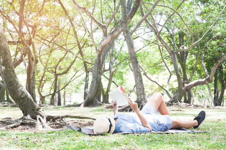 Asian female in blue jeans lying down and reading a book in park, Lifestyle people, Happy moment Asian  Happy Reading Casual Clothing Day Grass Happiness Holding Leisure Activity Lying Down Lying On Back Nature Outdoors Real People Relaxation Tree Tree Trunk Women