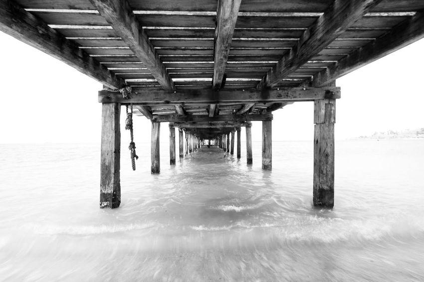 Landscape Blackandwhite Beach Underneath Below Bridge - Man Made Structure Sea Architecture Built Structure