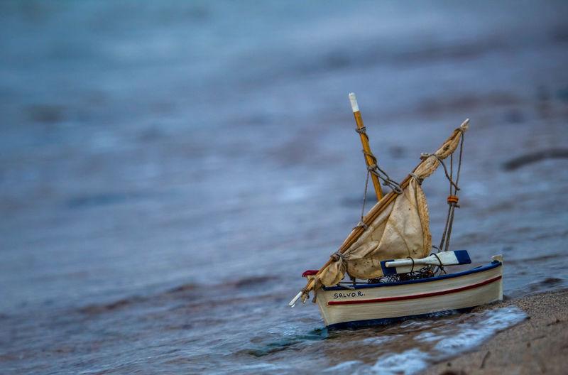 Sailboat sailing on sea shore