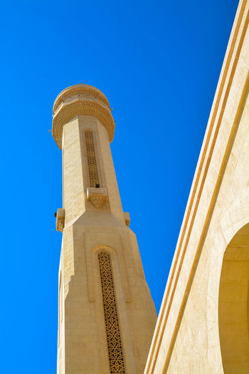 Minaret Al Fateh Bahrain Grand Mosque Islamic Architecture Manama Sunny Day Religious Architecture Mosque