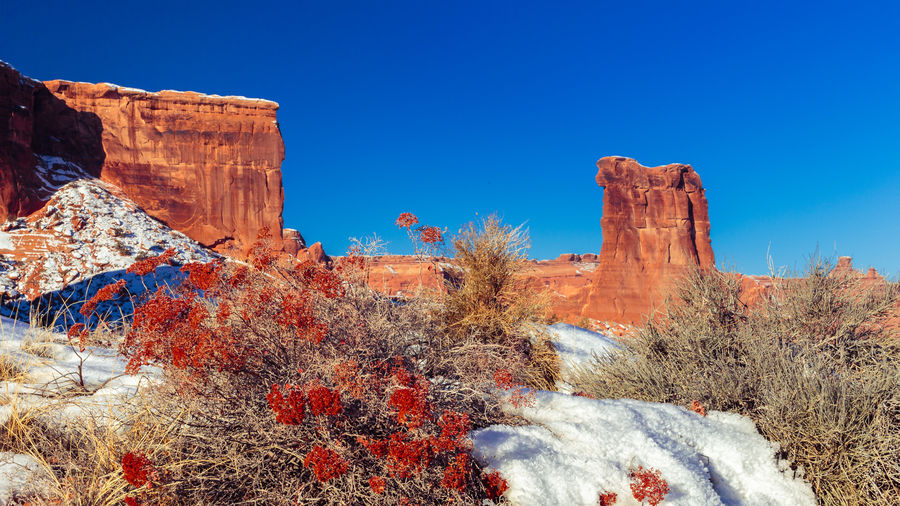 Arches National Park Beauty In Nature Blue Clear Sky Courthouse Towers Viewpoint Day January Landscape Outdoors Physical Geography Red Sandstone Rock - Object Rock Formation Scenics Sheep Rock Tourism Travel Destinations Utah