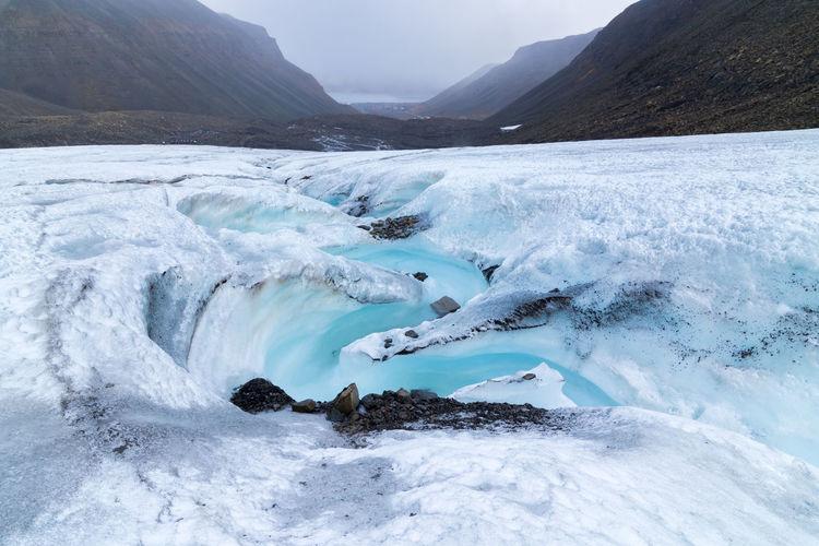 Milky blue meltwater running from longyearbyen glacier in svalbard. longyearbyen valley