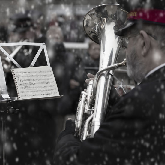 Band Brass Band Christmas Music Salvation Army Charity Close-up Festive One Person Outdoors Real People Snow