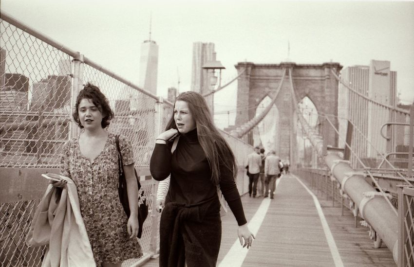 Young women of New York Young Women Hipsters New York City NYC Brooklynbridge Manhattan Skyline Streetphotography Up Close Street Photography Blackandwhite Filmisnotdead Film Film Photography Yashica 35mm Film Girls Gossip Fresh On Eyeem  The Street Photographer - 2016 EyeEm Awards