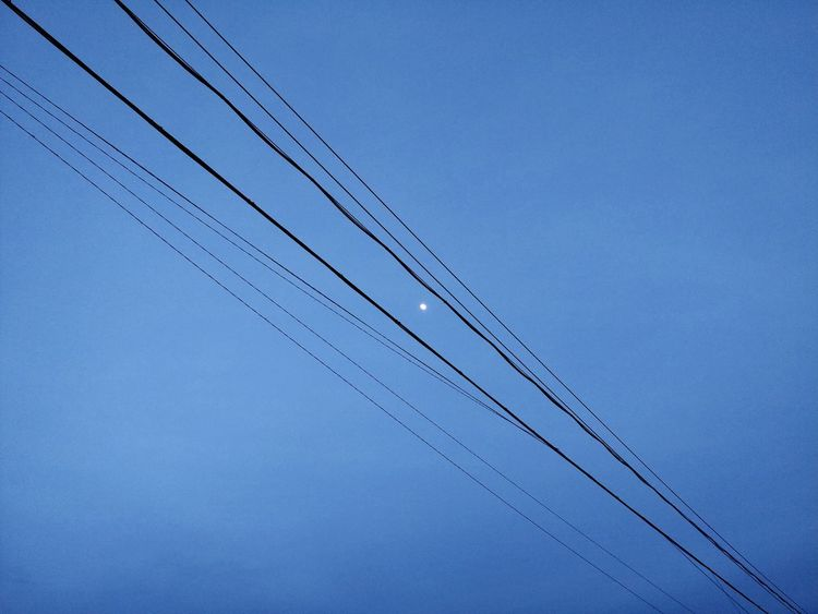 No People Blue Sky Clear Sky Low Angle View A Night Sky Night Night Sky Moon Moonlit Night Moonlit Sky Moonlit LINE Lines