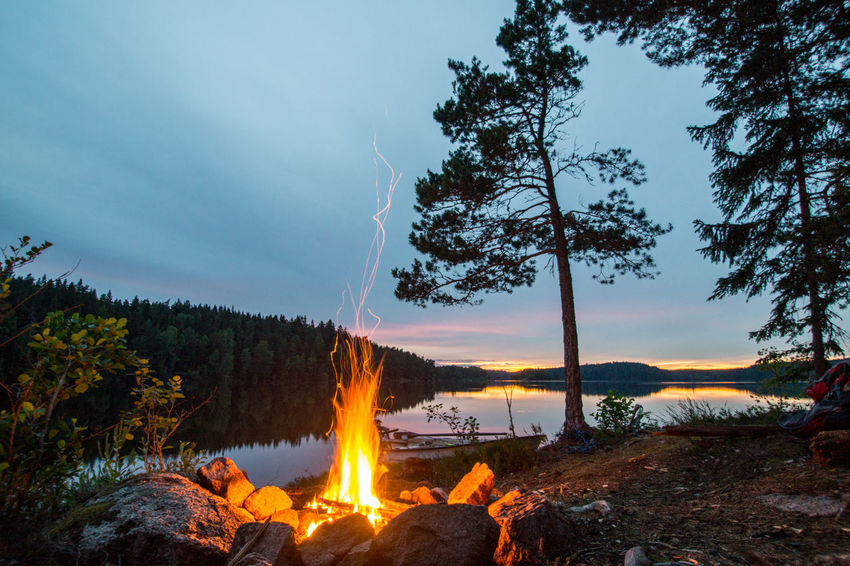 Allemansrätten Beauty In Nature Bonfire Campfire Camping Cloud - Sky Day Forest Freedom To Roam Lake Landscape Nature No People Outdoors Scenics Sky Sunset Sweden Sweden Landscape Sweden Nature Tranquil Scene Tranquility Tree Water Camp