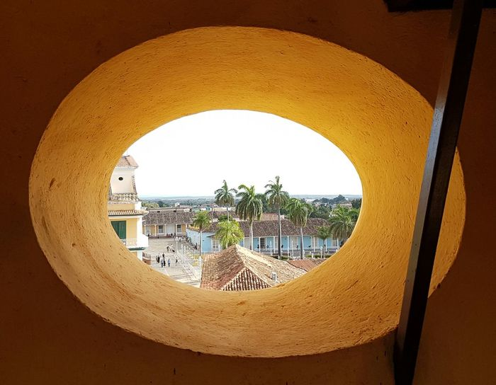 Trinidad Cuba Architecture Church Tower Oval Window View Of The Town Roof Tile palm trees Day