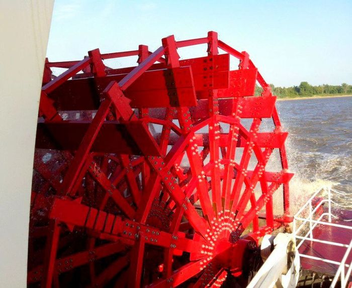 American Queen Historic Nostalgia Paddlewheel Boat Red Sternwheeler Tennessee River  Water