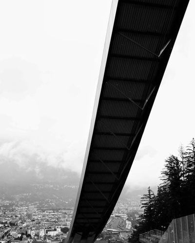 Austrian Impressions Ski Jump Ski Jumping Hill Olympic Ski Jump Innsbruck Innsbruck Von Oben August 2016 Cold Rainy Day Clouds Street Photography Streetphotographer Streetphoto Trampolino Di Lancio Sprungschanze Black And White Photography Black And White Schwarzweißfotografie Schwarz Und Weiß Blanco Y Negro Bianco E Nero