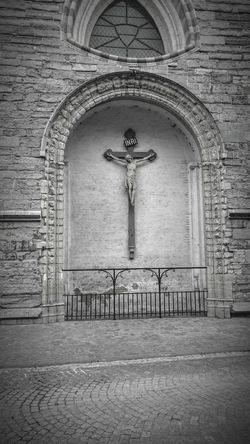 Brugge, Belgium -- 3rd of December 2015 -- Religion Architecture Built Structure Cross Building Exterior No People Photography Photo Black And White Black And White Photography Cobblestone Streets World Photography Medieval Architecture Travel Destinations Travel Photos Photographer Belgium Brugge Bruges Europe Euro World European