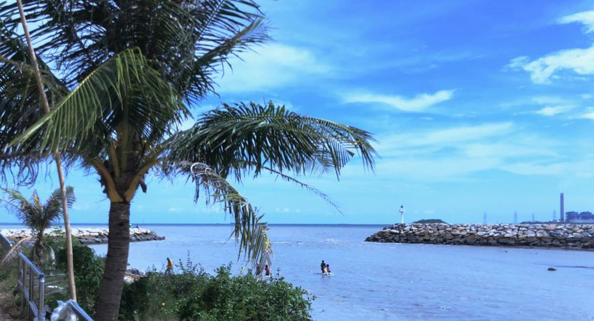 Blue River Mouth Water Tree Sky Sea Beauty In Nature Scenics - Nature Plant Nature Tranquility Beach Tranquil Scene Day Horizon Over Water Idyllic