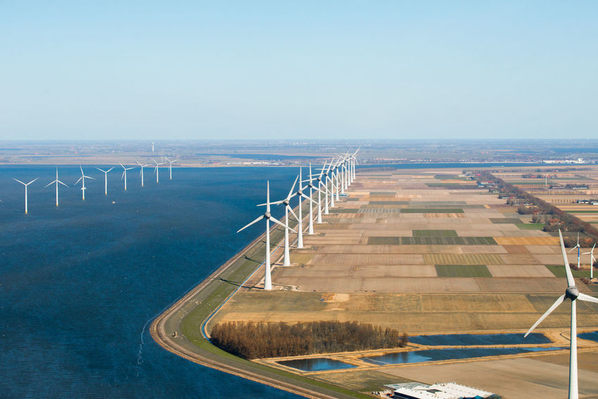 Wind turbine park Noordoostpolder Windpark Westermeerwind in the IJsselmeer near Urk in The Netherlands. Arial Shot Netherlands Noordoostpolder Windpark Westermeerwind The Netherlands Westermeerwind Wind Turbine Windmill Windmills Alternative Energy Arial Photography Arial View Dutch Landscape Energy Flevoland High Angle View Holland Ijsselmeer Noordoostpolder Typical Dutch Water