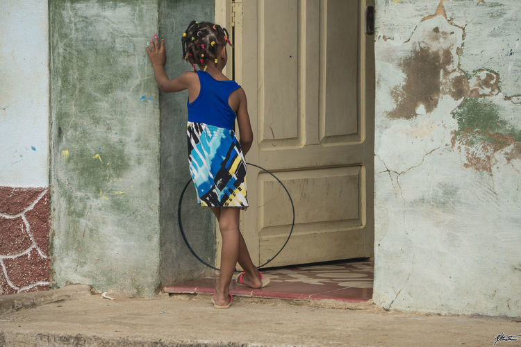 Childhood in Cuba Cuba HistoricalTown Old Town Trinidad Waiting Youth Blue Childhood Colorful Day Kid One Person People Playing Real People Standing Street Photography Streetphotography Young Adult