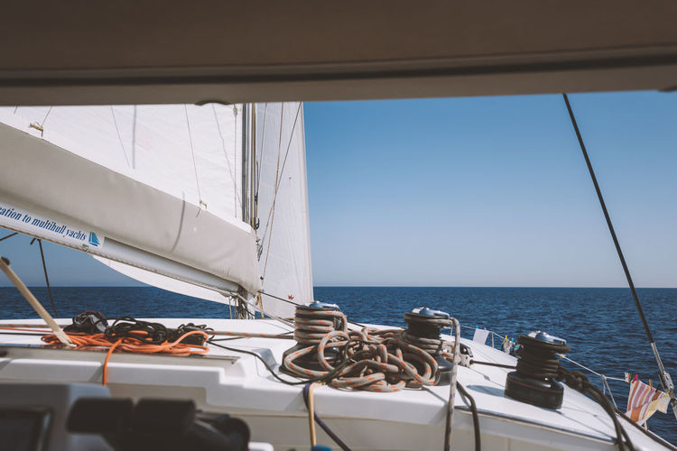 Lost In The Landscape Adventure Beauty In Nature Boat Deck Day Nature Nautical Vessel No People Outdoors Regatta Sailboat Sailing Sailing Ship Sea Sky Transportation Vacations Water Yacht Yachting