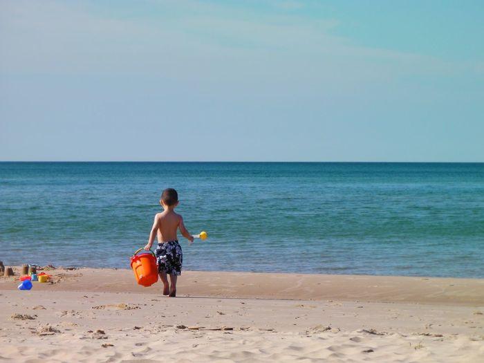 Horizon Over Water Kid Leisure Activity Outdoors Shore Summer Summer Fun Vacations Lake Michigan Michigan