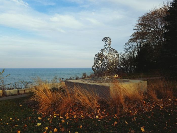 Water Beach Tree Outdoors Sky Nature Horizon Over Water Day Beauty In Nature Milwaukee Sculpture Autumn Atwater Leaves Sea No People Scenics Lake Michigan