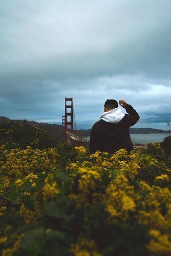 Rear view of man wearing hooded shirt while standing amidst yellow flowering plants on field against golden gate bridge