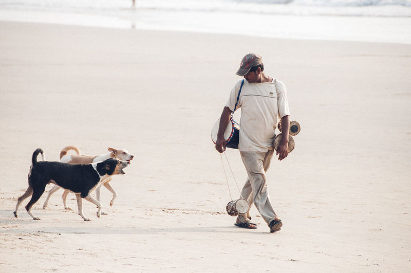 Full length of man walking with dog on beach