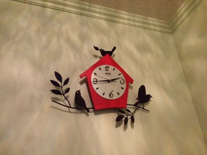 2.45pm Art Bird Clock Low Angle View Multi Colored No People No Time Time