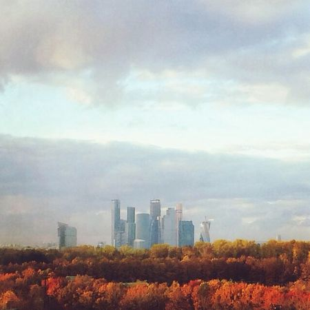 Moscow City From My Window Autumn View