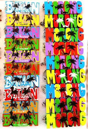Keychains Keychains  KeyChainPhotography Keychain Bataan Philippines Philippines Bright Souvenir Souvenirs Multi Colored Magnet Text Variation Colorful ArtWork For Sale Display Market Stall Shop Raw Alphabet Full Frame Representation