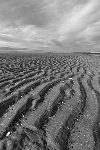 patterns left by the water in the sand Cloud - Sky Sky Land Scenics - Nature Environment Nature Tranquility Landscape Tranquil Scene Beauty In Nature Sand Day No People Horizon Beach Non-urban Scene Remote Horizon Over Land Outdoors Arid Climate