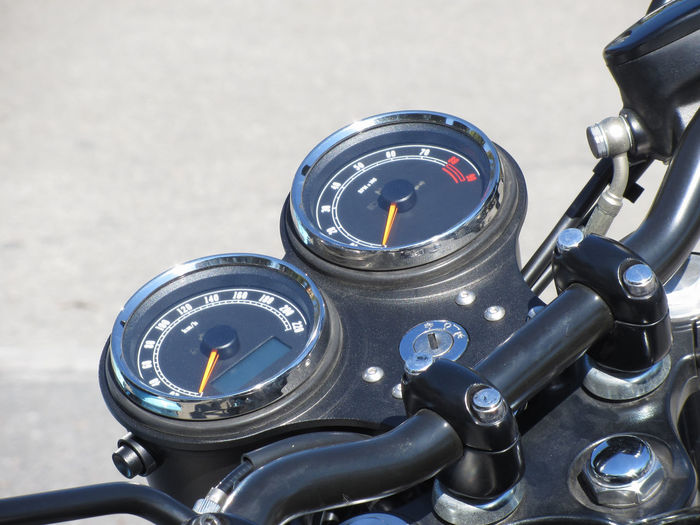 High angle view of motorcycle speedometer
