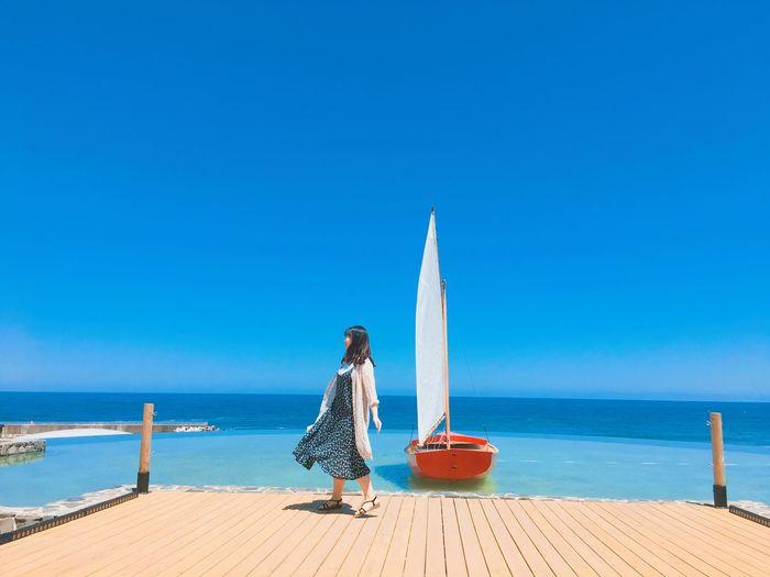 #ocean #sailboat #trip #windyday #sunnyday #happy #holiday Ocean View Ocean Sunnyday Holiday Sailing Boat Sea Water Sky Beach Horizon Over Water Blue Horizon