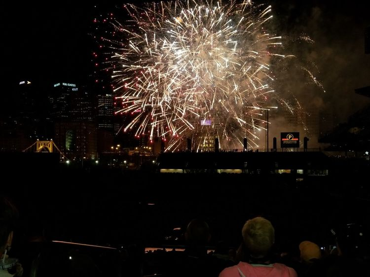 Firework Display Night Firework - Man Made Object Exploding Celebration Arts Culture And Entertainment Event Illuminated Pittsburgh PiratesMulti Colored Cityscape Sky Pennsylvania Outdoors Motion City Pittsburgh Baseball Stadium PNC Park Skyscraper Awe Spectator Celebration Event Large Group Of People Excitement