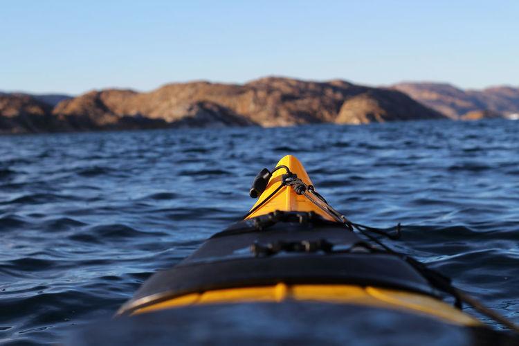 Close-up of kayak in sea