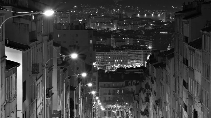 Marseille Architecture Building Exterior Built Structure City Illuminated Lighting Equipment Marsiglia Night Residential Building Street Light Top View