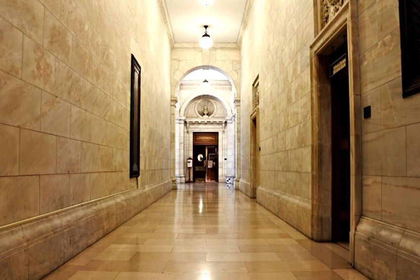 Just a hallway at New York Public Library when no Tourist is around. Hallway Empty Library New York Centerpiece Centered Old Buildings