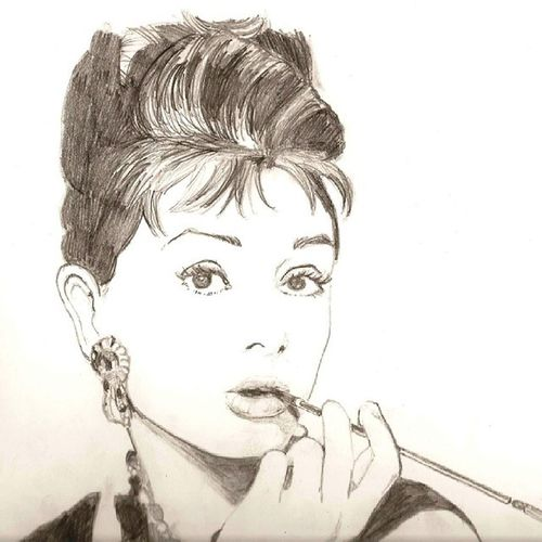 Nuovodisegno Audrey Hepburn Matite black and white artnerd artcollective