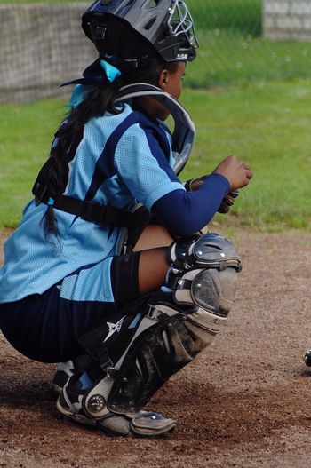 Sports Photography Softball Woman Portrait Sports Field Softball Outfit Close-up Game Concentration Catcher Base Catchers Box